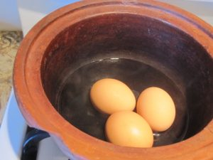 """Hard boiled eggs cooked in 1/2"""" of water"""